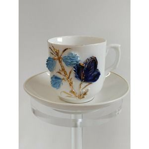 Vintage Raised Deco German Cup & Saucer Blue White